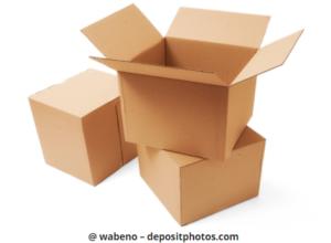 Drei verschiedene Kartons